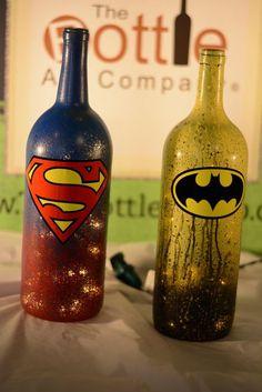 Superhero LED Light Up Liter Wine Bottle - Batman Decoration - Ideas of Batman Decoration - Superman Batman Superhero Series League of Justice Decorative Light Up Wine Bottles With Lights Wine Bottle Art, Glass Bottle Crafts, Painted Wine Bottles, Lighted Wine Bottles, Diy Bottle, Bottle Lights, Bottles And Jars, Glass Bottles, Bottle Lamps