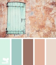 Beachy blue accent wall for kitchen/living room.  Pinkish neutral for other walls and sea foam for downstairs bathroom.