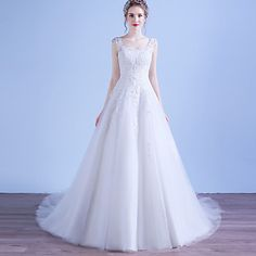 A-line Wedding Dress Vintage Inspired Court Train Scoop Tulle with Appliques – USD $ 179.99