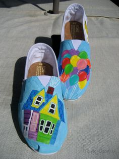Disney Toms!!!!! Up has to be one of my all time favorite Disney movies and I want these shoes badly!   Custom Hand Painted Toms Disney Pixar's Up by taylorlitonjua
