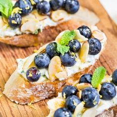 Blueberry & Whipped Mint Mascarpone Crostini with Almonds & Honey. Deliciously Festive Fun for your 4th of July!
