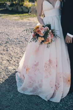 Non-White Wedding Dress Ideas -- LOVE <3 this floral dress
