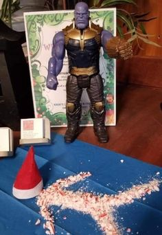 The elf meets Thanos Elf Christmas Decorations, Christmas Elf, Christmas Ideas, Magical Christmas, Marvel Dc, Marvel Comics, Bad Elf, Awesome Elf On The Shelf Ideas, Elf Magic