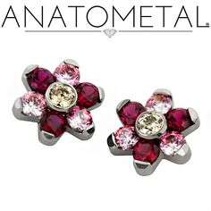 Threaded Flowers in ASTM F-136 titanium with genuine Passion Topaz gemstones in Baby Pink, Blazing Red, and Honey