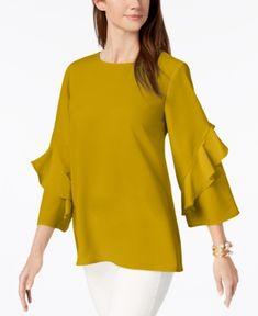 Alfani Ruffled-Sleeve Zip-Back Top, Created for Macy's - Gold XXL
