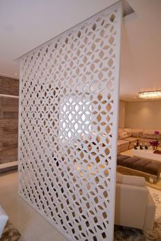 Cutter CNC — Painel Vazado, Painel Decorativo, Muxarabi ou Mucharabi, Divisória de Ambiente, Biombo e Cobogó em 2020 Living Room Partition Design, Living Room Divider, Pooja Room Door Design, Room Partition Designs, Diy Room Divider, Hallway Designs, Interior Design Living Room, Home Design Decor, Home Design Plans