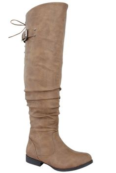 Cognac faux leahter knee high boots with side zipper,buckle strap design.