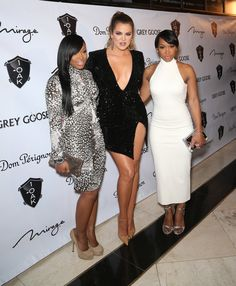 LAS VEGAS, NV - DECEMBER 30:  (L-R) Television personalities Khadijah Haqq, Khloe Kardashian and Malika Haqq arrive at 1 OAK Nightclub at The Mirage Hotel