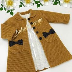 Tbt Is The Day . This Beautiful Dre Beautiful - Diy Crafts - Maallure - Diy Crafts Crochet Dress Girl, Crochet Baby Jacket, Knitted Baby Cardigan, Baby Pullover, Knitted Coat, Kids Knitting Patterns, Knitting For Kids, Crochet For Kids, Baby Patterns