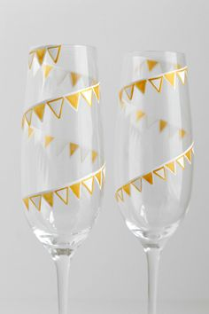 Gold and White Pendant Banner Champagne Flutes Personalized and Painted by MaryElizabethArts.com