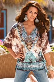 Embellished printed tunic by Boston Proper