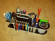 See also the mini tote and soldering station by the same maker. Extensive notes on this one in the workshop notebook. Workshop Storage, Workshop Organization, Garage Workshop, Tool Storage, Van Storage, Wood Tools, Diy Tools, Tool Tote, Tool Cart