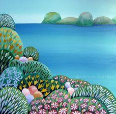 Buon tempo - Tiziana Rinaldi - #spring #summer #islands #sea #blossoms #flowers #painting #art