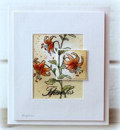 Hello, gorgeous card by Birgit Edblom. I think you are absolutely stunning! She made this stamps from the March 2013 Greenhouse Society stamp set from TechniqueTuesday.com.