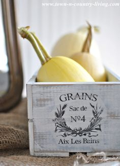 Fall decorating with a rustic crate and spaghetti squash