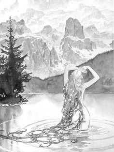 Deep, cold water reflects the nature of a Scorpionic soul.  Neptune in Scorpio embodied here, too.