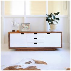 Wilson Modern Buffet and Cabinet by Gus Modern in Walnut and White Modern Furniture Toronto, Mid Century Modern Furniture, Contemporary Furniture, Contemporary Sideboards, Furniture Vancouver, Furniture Making, Home Furniture, Furniture Design, Lacquer Furniture