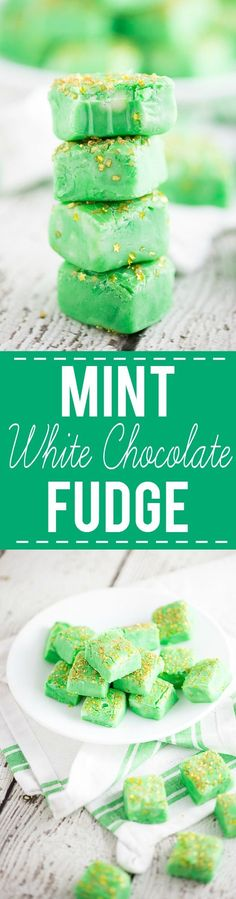 Mint White Chocolate Fudge recipe -Cool mint mixed with creamy white chocolate fudge make this Mint White Chocolate Fudge recipe a decadent, refreshing treat. Make it in the microwave! Super quick and easy dessert recipe. Love this for St Patrick's Day or Christmas!