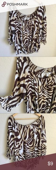 PLUS SIZE ZEBRA OFF SHOULDER TOP BLOUSE This blouse is the off the shoulder design with stretch waistband detail! Very stylish and cute! Fun zebra print! Size 2X dress barn brand! Price firm unless bundled with multiple items. Tops Blouses