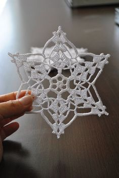 The price is for ONE SNOWFLAKE. This wonderful handmade crochet lace snowflakes . - - The price is for ONE SNOWFLAKE. This wonderful handmade crochet lace snowflakes measures approximately or 5 inch. Made with White high qualit. Crochet Snowflake Pattern, Crochet Motifs, Crochet Snowflakes, Crochet Doilies, Crochet Flowers, Crochet Lace, Free Crochet, Crochet Patterns, Crochet Angels