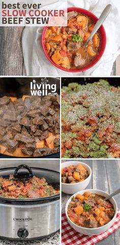Easy Beef Stew Crock Pot Recipe - Healthy + Simple to Make Beef Stew Crockpot Easy, Slow Cooker Beef, Slow Cooker Recipes, Crockpot Meals, Easy Delicious Recipes, Healthy Crockpot Recipes, Paleo Recipes, Tasty, Paleo Food