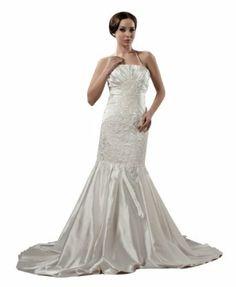 herafa Mermaid Long Dress Delicate Beading Lace Applique w35840