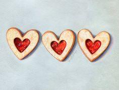 Linzer Cookie Art // Food Illustration // Art Print // Cookies