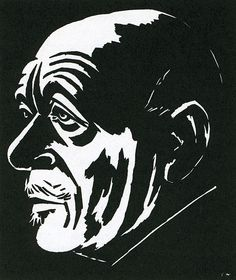 Masereel, portrait cyril buysse, woodcut, 1929