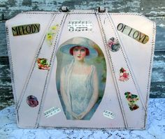 Shabby Pink Old MIlitary Briefcase With decoupage Sheet Music Victorian Woman Roses