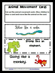 animal movement activities for infants | Photo Zoo Themed Learning Activities for preschool Zoo Animal Movement ...
