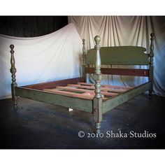 Shabby Chic Sage 58H Tall Cannonball Bed Queen - Made to Order