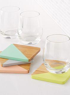 Les sous-verres angles pastel Ensemble de 4 | Simons