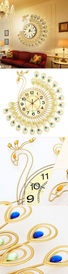 Wall Clocks 20561 Creative Gold Peacock Large Clock Metal Living Room Watch Home