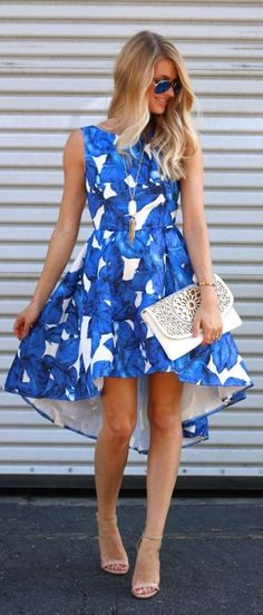 Blue Palm Print Dress Girly Style by Ash N' Fashn