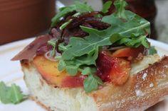 #Open-Faced Peach & Prosciutto #Sandwiches with Brie & Arugula 15 Amazing #Prosciutto Sandwich Recipes | All Yummy Recipes