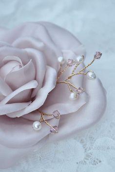 Blush Rose Hair Flowers Hair comb Silk flowers by JanaRoyaleDesign
