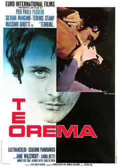 """Teorema"" (1968). Country: Italy. Director: Pier Paolo Pasolini. Cast: Terence Stamp, Silvana Mangano, Laura Betti, Massimo Girotti, Anne Wiazemsky, Ninetto Davoli"