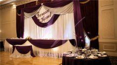#Noble #deep #purple #reception #décor #satin #backdrop #names