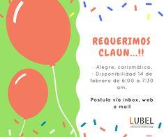 #Arequipa #Lubel #Work #SanValentin #Claun #Amistad #Clown  Requerimos: - Claun mujer con experiencia para campaña San Valentin disponibilidad el miércoles 14 de febrero de 6:00 a 7:30 am. para activación en reconocida empresa. Postula vía inbox a través de nuestro correo seleccion@lubel.pe y enviando tu CV y datos a través de nuestro link: http://ift.tt/2iXiXqq   LUBEL  Buscando el talento que hay en ti!...