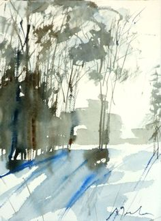 New England Winter-Scape limited edition of 50 fine art giclee prints from my original watercolor Watercolor Trees, Watercolor Landscape, Abstract Watercolor, Watercolor And Ink, Landscape Paintings, Watercolor Paintings, Painting Art, England Winter, Watercolor Techniques