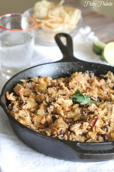 My Chicken and Black Bean Green Chili Rice Skillet makes the perfect quick and simple weeknight dinner!