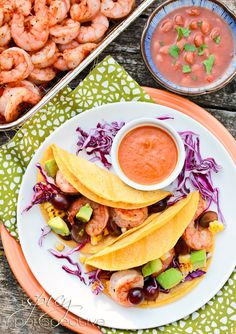 Shrimp Tacos w/ Grilled Corn, Grapes and Creamy Ranchero Sauce via @SpicyPerspectiv