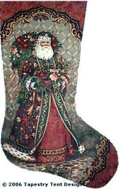 Santa's Bouquet Needlepoint Stocking