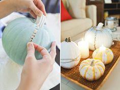AM Inspired: Thumbtastic Chic DIY Indoor Pumpkins #pumpkins #diy #design #chic #glam #candles #halloween #fallpumpkins