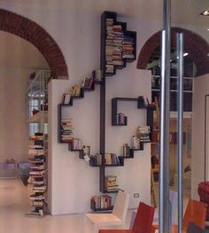 A bookshelf can also make a nice partition wall or a unique decoration in your room. Check out these extraordinary bookshelf ideas Creative Bookshelves, Bookshelf Ideas, Bookshelf Decorating, Bookshelf Inspiration, Decorating Ideas, Bookshelf Design, Short Bookshelf, Bookshelf Storage, Book Storage
