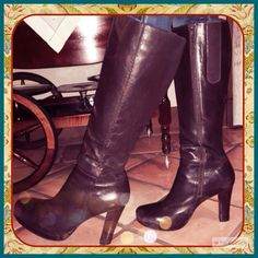 Charles David Scalloped Design Boot Charles David Brown Leather Boots. Chocolate brown leather boots scalloped leather trim and stacked heel. Worn only a handful of times, no defects or major signs of wear. In great condition. A great boot for Fall! Please review ALL photos. Charles David Shoes