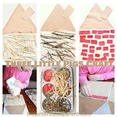 Three Little Pigs kid's Craft & activity - Build a straw, stick & brick house