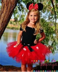 We are proud to now offer our official Minnie Mouse InspiredTutu ! Our handmade tutu, created with red tulle and white felt polka dots & black Holidays Halloween, Happy Halloween, Halloween Costumes, Fun Costumes, Halloween Halloween, Costume Ideas, Disfraz Minnie Mouse, Tutu Bailarina, Robes Tutu