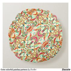 Cute colorful paisley pattern round pillow
