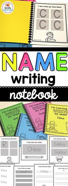 Creating a Name Writing Notebook for your preschoolers and kindergarteners!  This easy to edit notebook follows the natural progression of learning to write a name, using tracing lines rather than dots and dashes.